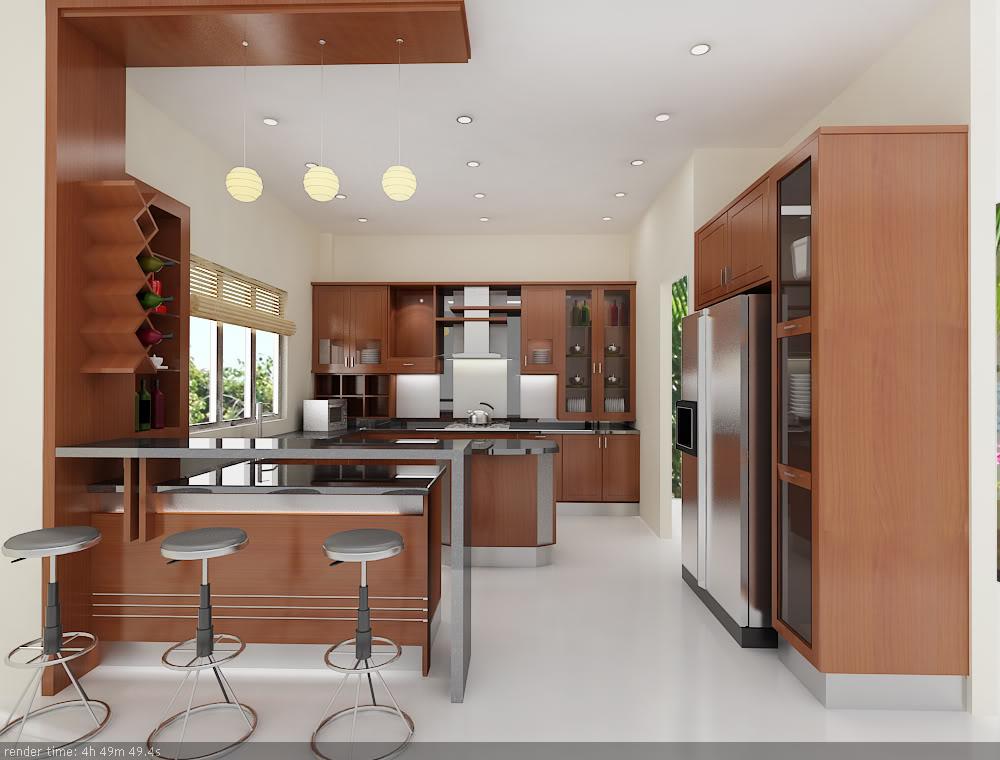 Tủ Bếp Có Bàn Đảo Đẹp Cổ Điển - Gỗ Căm Xe -014