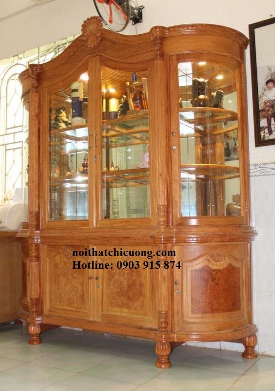 Tủ Rượu Phòng Khách - Gỗ Xoan Đào Đẹp -001