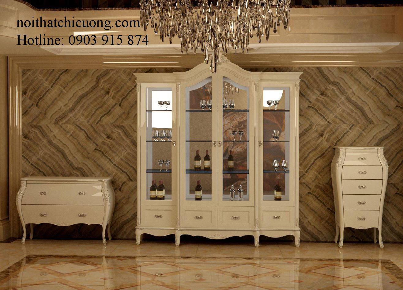 Nội Thất Phòng Khách- Tủ Rượu  Sơn Trắng - 035