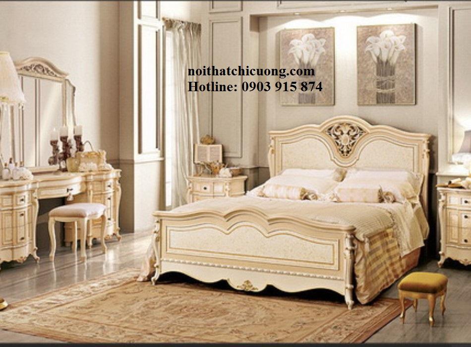 Nội Thất Phòng Ngủ- Giường Ngủ Gỗ Sơn Trắng -115