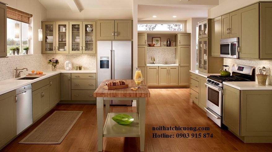 Nội Thất Phòng Bếp -Tủ Bếp Cổ Điển Châu Âu Sơn Trắng - 043