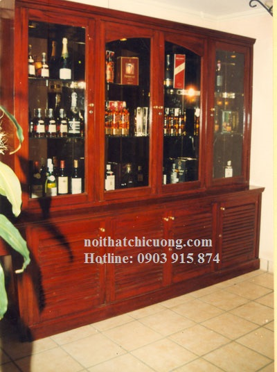 Tủ Rượu Phòng Khách - Gỗ Căm Xe Đẹp Hiện Đại -015