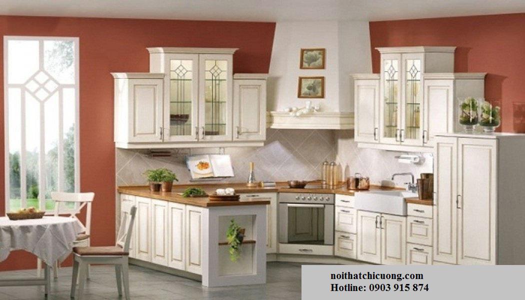 Nội Thất Phòng Bếp -Tủ Bếp Cổ Điển Châu Âu Sơn Trắng - 040