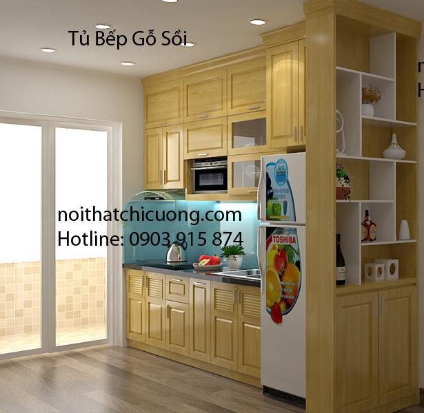 Nội Thất Phòng Bếp - Tủ Bếp Chữ I Gỗ Sồi -054