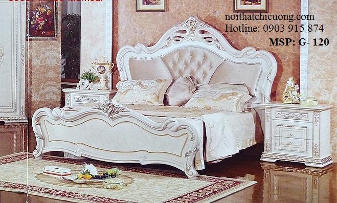Nội Thất Phòng Ngủ - Giường Ngủ  Gỗ Căm Xe Sơn Trắng- 120