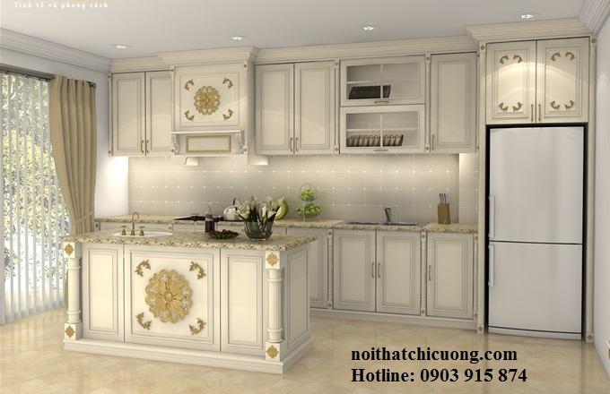 Nội Thất Phòng Bếp - Tủ Bếp Chữ L Sơn Trắng - 109