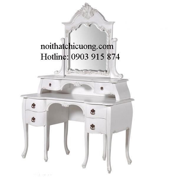 Nội Thất Phòng Ngủ - Bàn Trang Điêm- Gỗ Căm Xe Sơn Trắng- 046