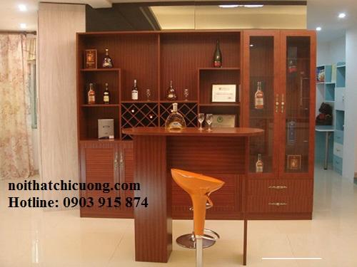 Tủ Rượu Đẹp Cho Nhà Phố - Gỗ Xoan Đào Hiện Đại -030