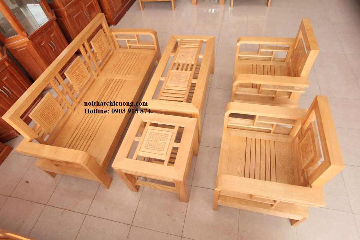 Bàn Ghế Gỗ Sồi Cho Phòng Khách Nhà Phố -032
