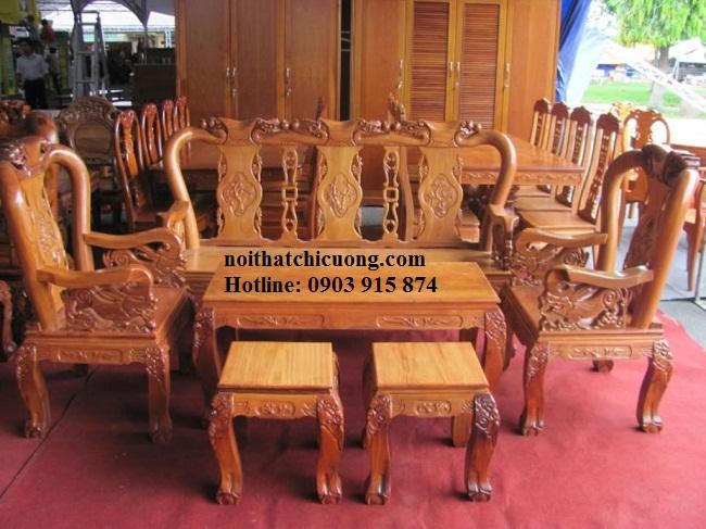 Bàn Ghế Phòng Khách Gia Đình - Gỗ Cẩm Lai Đẹp -047
