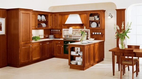 Tủ Bếp Dạng Chữ U Hiện Đại Gỗ Sồi Đẹp -020