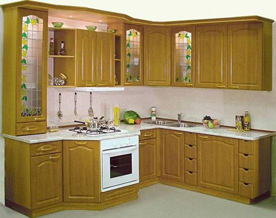 Tủ Bếp Dạng Chữ L Đẹp Cho Phòng Bếp  - Gỗ Xoan Đào - 055