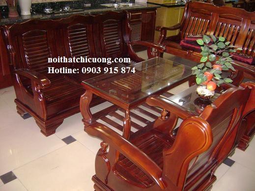 Bộ Bàn Ghế Phòng Khách Sang Trọng - Gỗ Xoan Đào -062