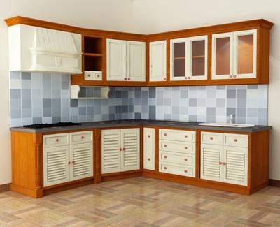 Tủ Bếp Dạng Chữ L Đẹp Bằng Gỗ Cao Su Tự Nhiên -009