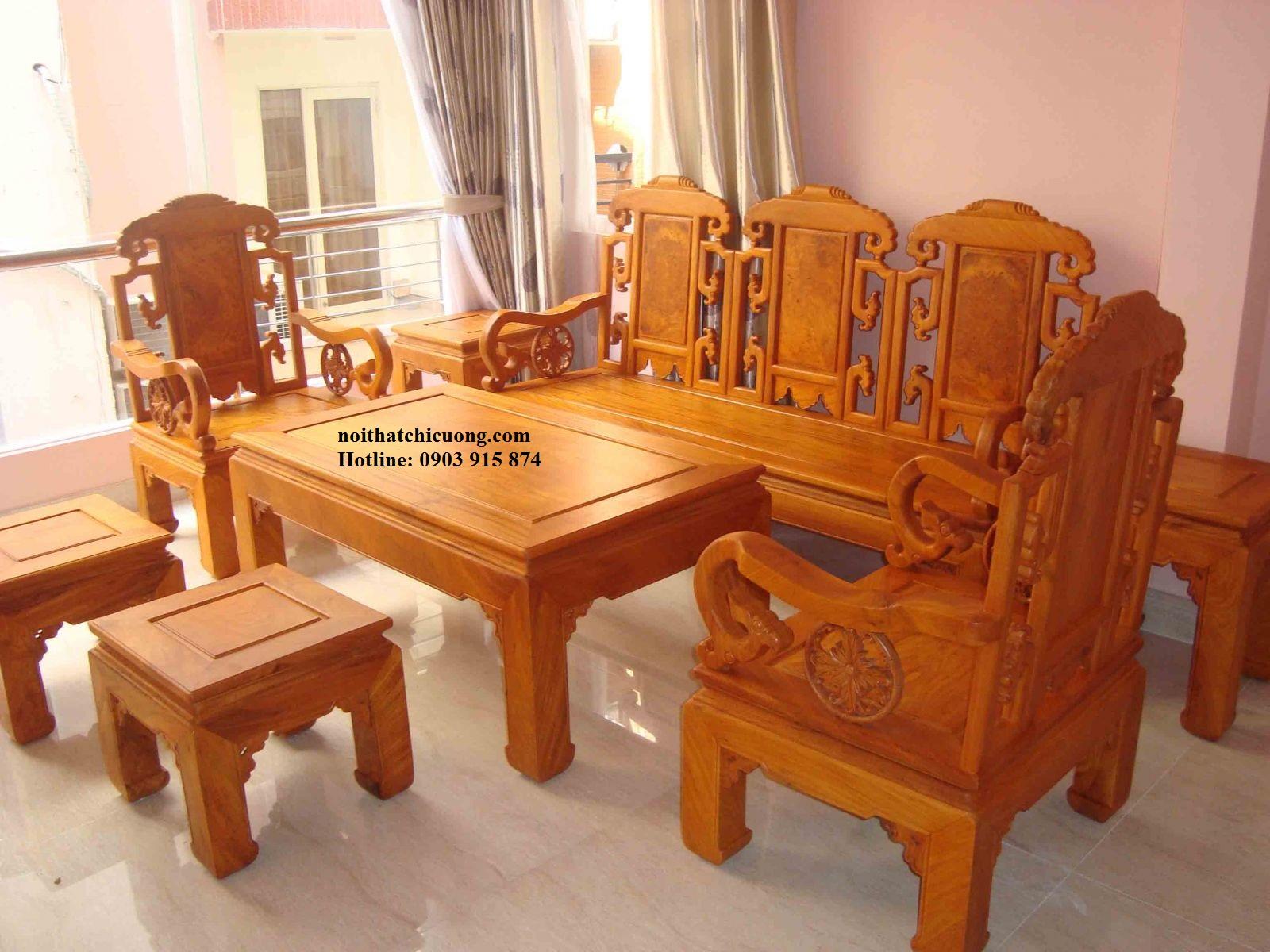 Nội thất bàn ghế phòng khách - Gỗ Gỏ Đỏ Sang Trọng -064