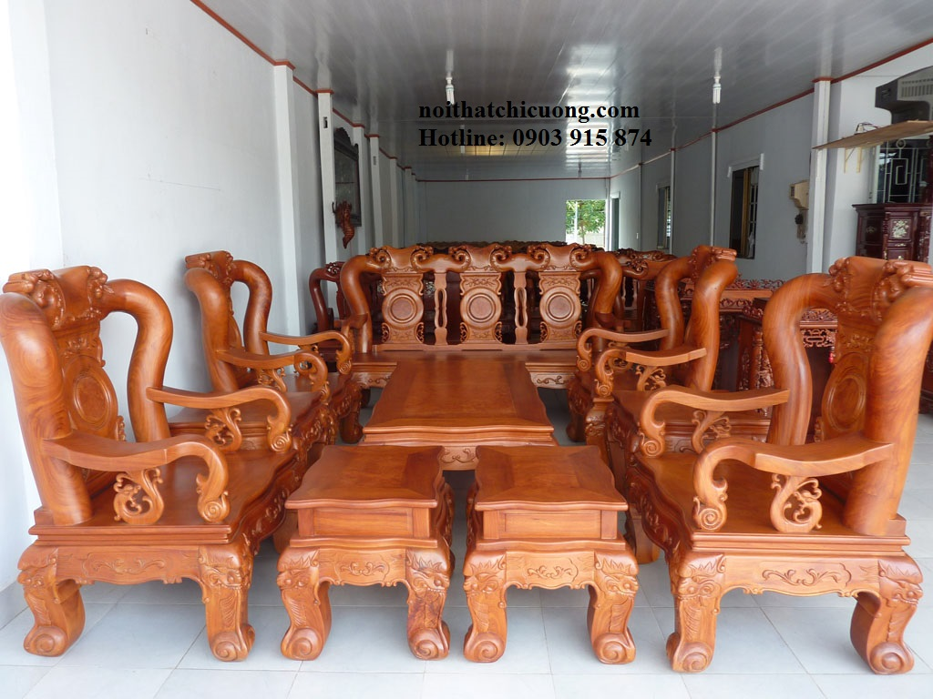 Bàn Ghế Phòng Khách Sang Trọng Bằng Gỗ Gỏ Đỏ -066