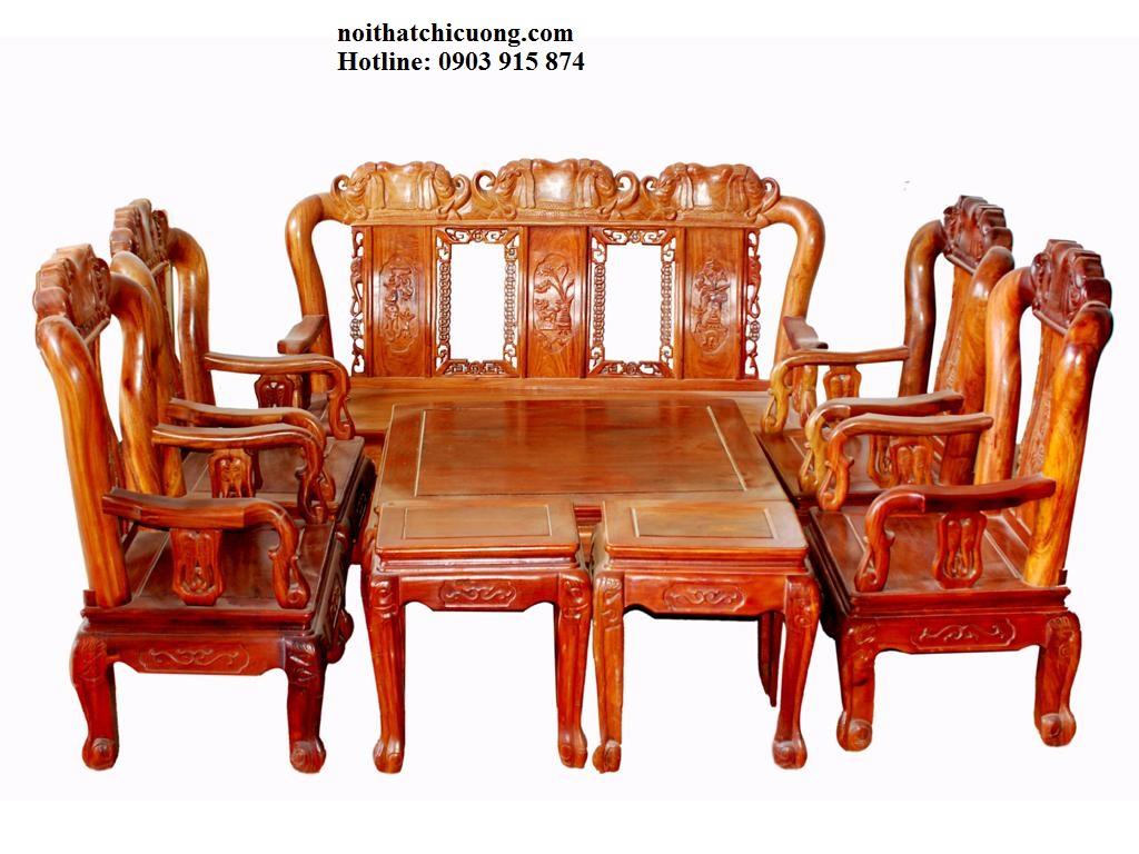 Bàn Ghế Phòng Khách Đẹp - Gỗ Căm Xe Tự Nhiên -067
