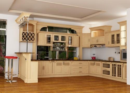 Tủ Bếp Cổ Điển Châu Âu - Gỗ Xoan Đào -020