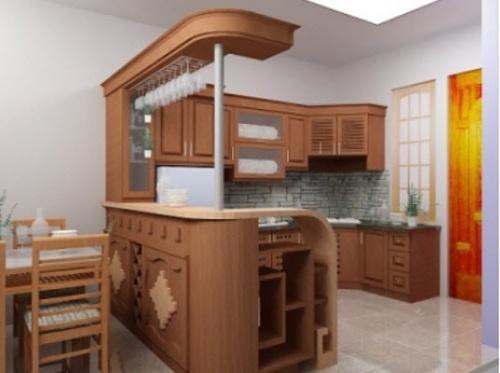 Tủ Bếp Dạng Chữ U - Gỗ Sồi Hiện Đại -018