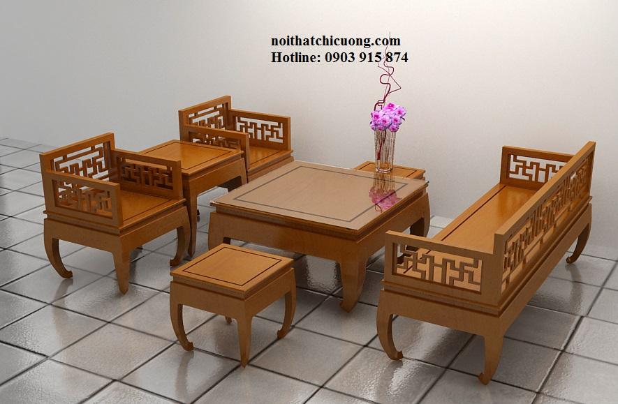 Bàn Ghế Đẹp Cho Phòng Khách Nhà Xinh - Gỗ Sồi -077