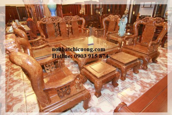 Bàn Ghế Cho Phòng Khách Sang Trọng - Gỗ Căm Xe-079