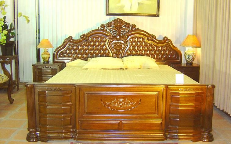 Giường Ngủ Nhà Phố Sang Trọng - Gỗ Căm Xe Cao Cấp-061
