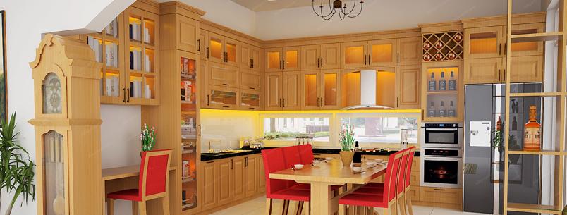Tủ Bếp Dạng Chữ L Cho Nhà Phố - Gỗ Xoan Đào Đẹp Tự Nhiên -050