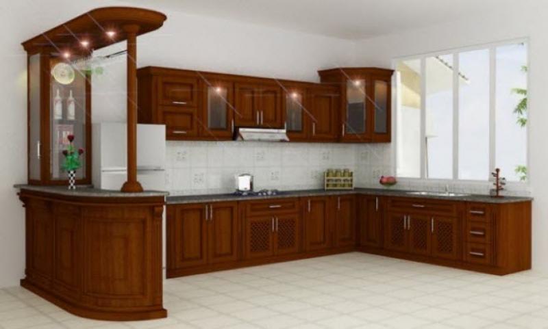 Tủ Bếp Dạng Chữ U Cổ Điển - Gỗ Sồi -019