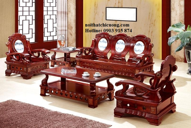 Bàn Ghế Phòng Khách Đẹp Cổ Điển - Gỗ Gỏ Đỏ-093