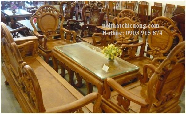 Bàn Ghế Phòng Khách Sang Trọng - Gỗ Huỳnh Đàng Cổ Điển -096
