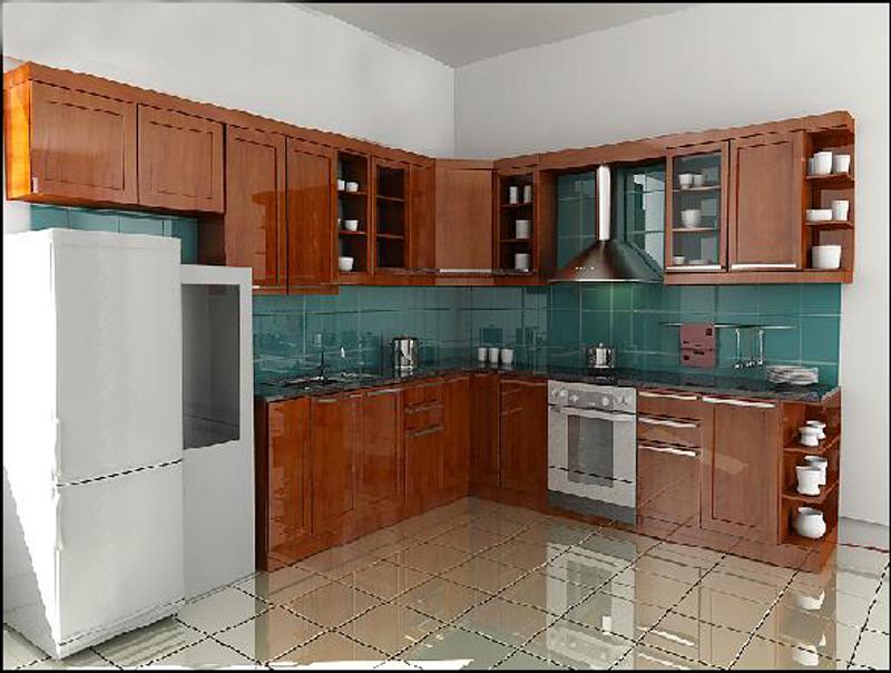 Tủ Bếp Dạng Chữ L Cổ Điển Gỗ Xoan Đào -023