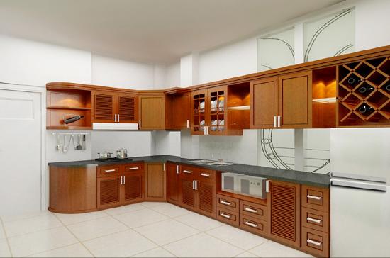 Tủ Bếp Dạng Chữ L Cho Gia Đình - Gỗ Cẩm Lai Cao Cấp -039