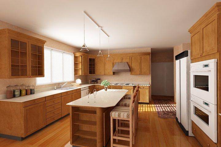 Tủ Bếp Có Bàn Đảo Gỗ Tự Nhiên Đẹp Cho Nhà Phố -030