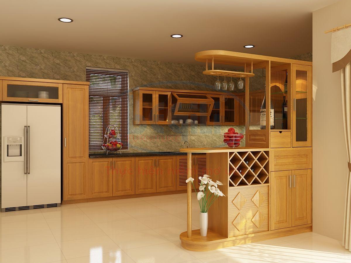 Tủ Bếp Dạng Chữ U Cho Nhà Phố Bằng Gỗ Tự Nhiên-054