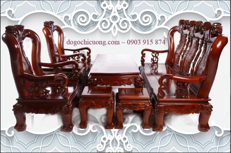Bàn Ghế Phòng Khách Sang Trọng - Gỗ Xoan Đào -068