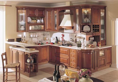 Tủ Bếp Dạng Chữ U Cho Nhà Phố Sang Trọng - Gỗ Xoan Đào -036