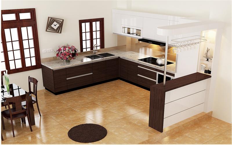 Tủ Bếp Có Bàn Đảo Hiện Đại - Gỗ Gỏ Đỏ -022