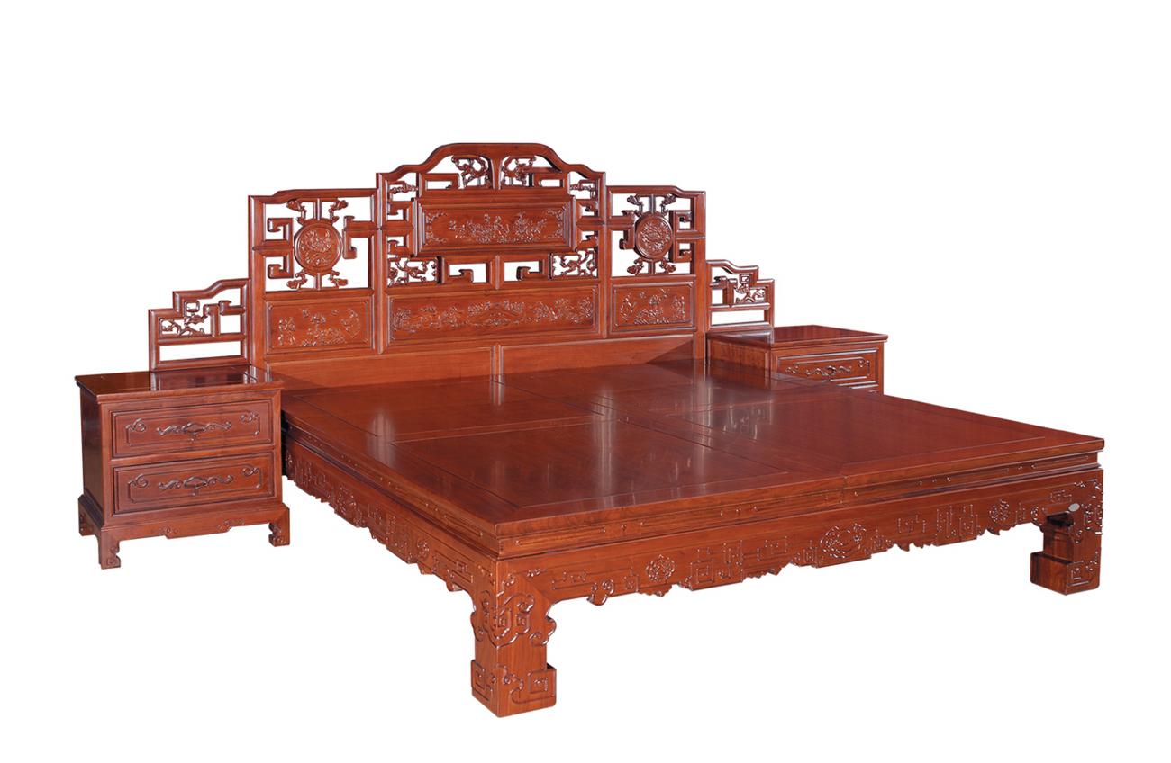 Giường Ngủ - Gỗ Gỏ Đỏ Cổ Điển -056