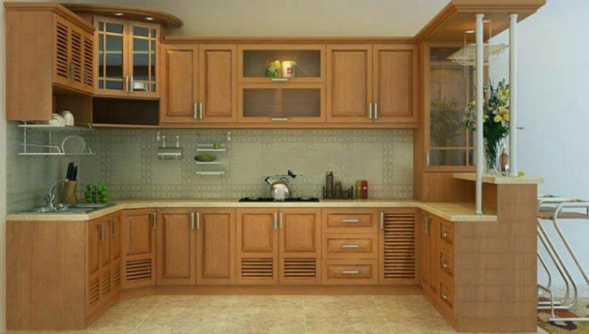 Tủ Bếp Dạng Chữ U Nhà Phố - Gỗ Cẩm Lai Hiện Đại -033
