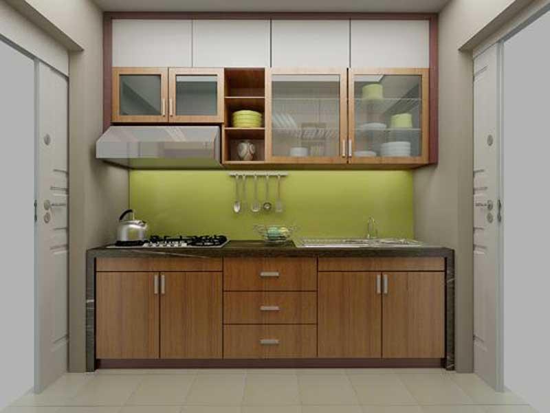 Tủ Bếp Dạng Chữ I Cổ Điển Gỗ Cao Su -003