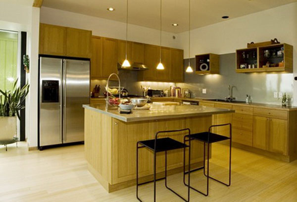 Tủ Bếp Có Bàn Đảo Cho Nhà Phố - Gỗ Sồi Sang Trọng -016