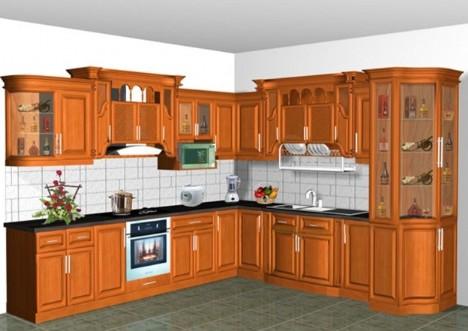 Tủ Bếp Dạng Chữ L Cho Nhà Phố - Gỗ Cẩm Lai Tự Nhiên -046