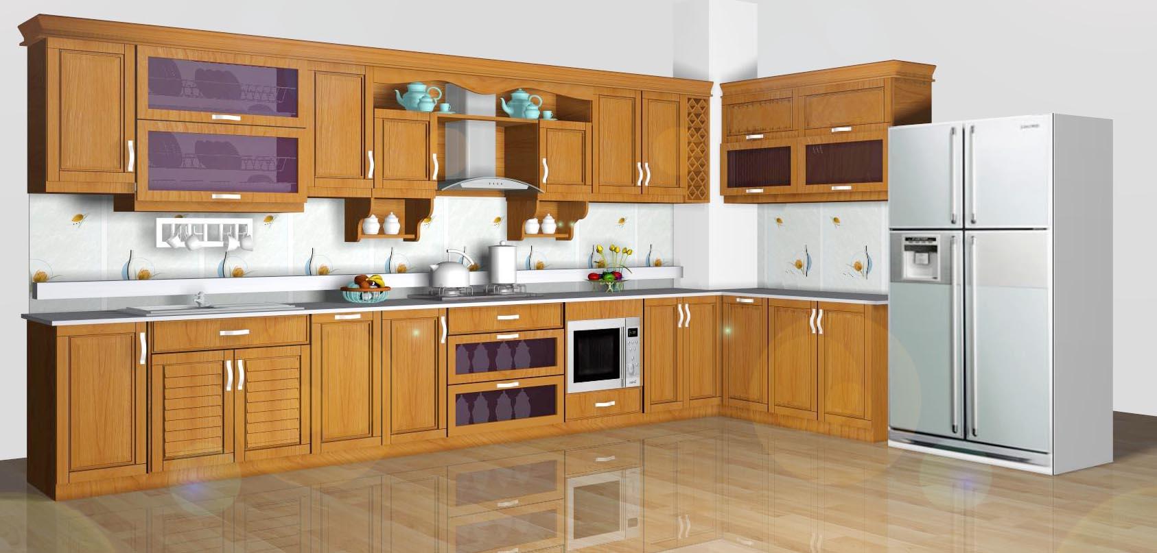 Tủ Bếp Dạng Chữ L Cho Nhà Phố - Gỗ Sồi Hiện Đại -038