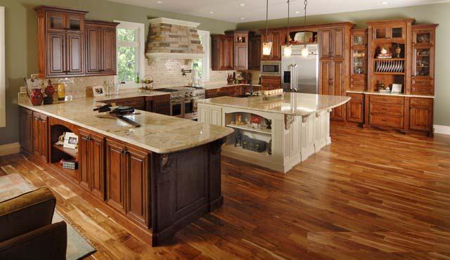 Tủ Bếp Có Bàn Đảo Nhà Phố - Gỗ Gỏ Đỏ Cao Cấp -023