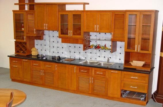 Tủ Bếp Dạng Chữ I Cho Nhà Phố - Gỗ Cẩm Lai Cao Cấp -028
