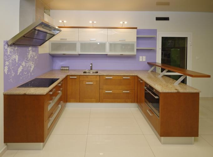 Tủ Bếp Dạng Chữ U Hiện Đại Gỗ Cẩm Lai -032